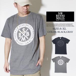 Tシャツ メンズ トップス 半袖 秋冬 おしゃれ ブランド 大きいサイズ ビッグシルエット サークルロゴT プリント SIR BENNI MILES 灰|dj-dreams