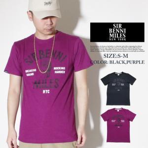 Tシャツ メンズ トップス 半袖 秋冬 おしゃれ ブランド 大きいサイズ ビッグシルエット 拳 プリント SIR BENNI MILES 黒 紫 残りSサイズ|dj-dreams
