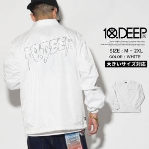 コーチジャケット メンズ 春 ブランド ナイロン ウインドブレーカー 防風 ホワイト 白 10DEEP 大きいサイズ