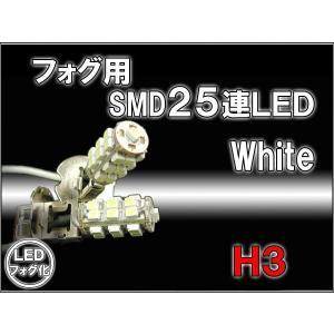 フォグランプLED化 H3ハロゲン置換 SMD25連ホワイト 2個LED フォグランプセット メール便発送なら送料無料|dko