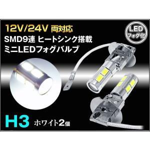 H3 LEDフォグバルブ 12V 24V兼用ミニサイズ H3 SMD9連 プロジェクターレンズ搭載 ホワイト2個セット prv