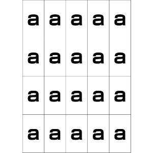 アルファベットaシール(黒) 20丁×5シート(小数100枚)|dkom