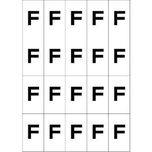 アルファベットFシール(黒) 20丁×5シート(小数100枚)|dkom