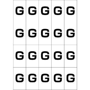 アルファベットGシール(黒) 20丁×5シート(小数100枚)|dkom