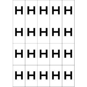 アルファベットHシール(黒) 20丁×5シート(小数100枚) dkom