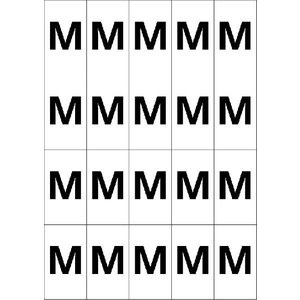 アルファベットMシール(黒) 20丁×5シート(小数100枚)|dkom
