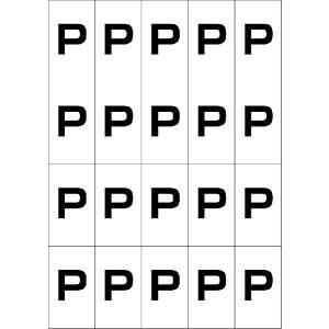 アルファベットPシール(黒) 20丁×5シート(小数100枚)|dkom