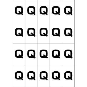 アルファベットQシール(黒) 20丁×5シート(小数100枚)|dkom
