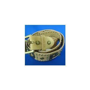 レッドペッパーヘビ柄型押しロゴプレートベルト本革41UN-30ベージュ|dmzfree
