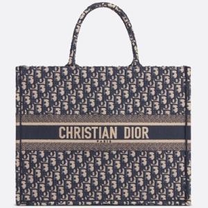 ディオール DIOR ディオール オブリーク 刺繍入りキャンバス Dior Book Tote ディオール ブック トート(M1286ZRIW M928)ハンド トートバッグ ネイビー|dnfal