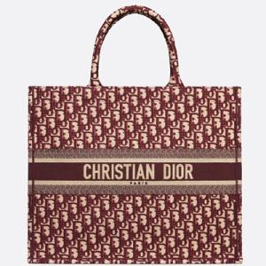 ディオール DIOR ディオール オブリーク 刺繍入りキャンバス Dior Book Tote ディオール ブック トート(M1286ZRIW M974)ハンド トートバッグ ボルドー|dnfal