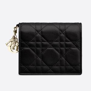 ディオール DIOR ラムスキン Lady Dior ウォレット(S0178ONMJ M900)ブラック 折財布|dnfal
