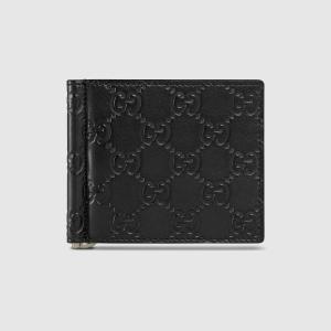 グッチ GUCCI GGレザー マネークリップウォレット(170580 CWC1N 1000)ブラック 折財布 ギフト包装|dnfal