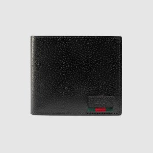 グッチ GUCCI ウェブ付き レザー コインウォレット(428748 DJ21T 1060)ブラック レザー メンズ折財布 ギフト包装 dnfal