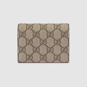 グッチ GUCCI GGスプリーム キャンバス カードケース(508757 KHNKG 8358)ベージュ エボニ ギフト包装 dnfal