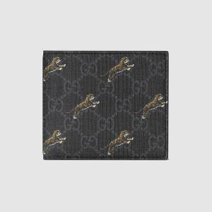 グッチ GUCCI タイガー プリント GG コインウォレット(575132 G2BAN 1087)ブラック レザー トリム 折財布 ギフト包装 dnfal