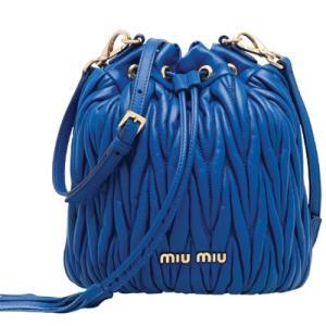 ミュウミュウ MIU MIU 「マテラッセ」レザー バケットバッグ(5BE014 N88 F0013 V OOO)ライトブルー ギフト dnfal