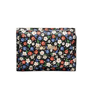 ミュウミュウ Miu Miu プリント カーフレザー 三つ折り財布(5MH021 2D46 F0002)ブラック ギフト dnfal
