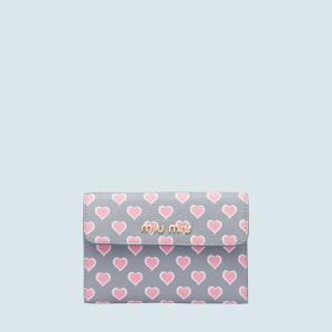 ミュウミュウ MIU MIU プリント マドラスレザー 財布(5ML014 2BCZ F0YVK)ライトグレー/ピンク 折財布 ギフト dnfal