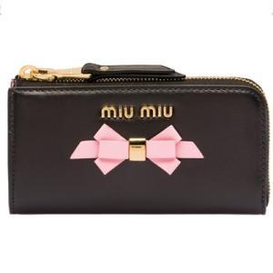 ミュウミュウ MIU MIU レザー キーケース(5PP026 2B61 F047K)ブラック/ピンク ギフト dnfal