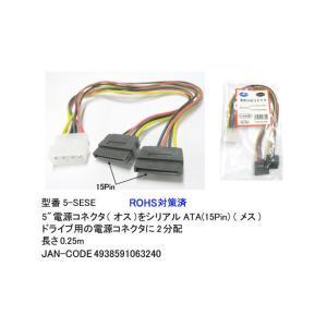 COMON カモン 4pinペリフェラル - SATA電源x2 変換ケーブル (5-SESE)|do-mu