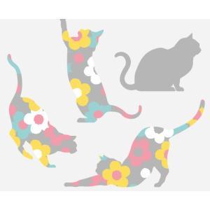 フローラル・キャッツ グレー Sサイズ 高級 ウォールステッカー 転写 東京ステッカー リビング 可愛い 猫 玄関 子供部屋 doanosoto 02