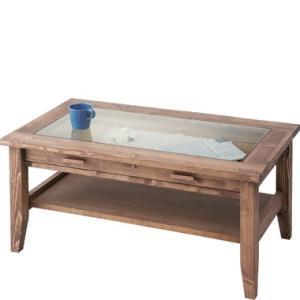 テーブル ルーアン ガラス付 センターテーブル ディスプレイ 収納 天然木 パイン材 引き出し インテリア ショップ AZ2-108 CFS-842|doanosoto