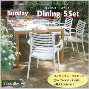 ダイニングテーブル 5点セット チェア 椅子 庭 テラス ガーデンファニチャー Grosfillex グロスフィレックスサンデー 全2色 タカショー TK-1162|doanosoto