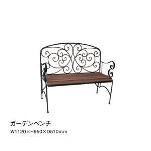 ベンチ ガーデン ファニチャー 庭 椅子 アイアン 木製 2人掛け テラス ベランダ カフェ ディスプレイ YT9-428|doanosoto