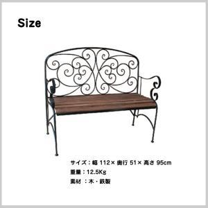 ベンチ ガーデン ファニチャー 庭 椅子 アイアン 木製 2人掛け テラス ベランダ カフェ ディスプレイ YT-392 doanosoto 02