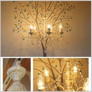 照明 5灯 クリスタルシャンデリア アンティーク ホワイト クリスタル リビング 白熱電球付き カフェ ディスプレイ プレゼント JR doanosoto 04