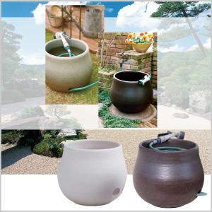 ホースキーパー ホース収納 大 信楽焼 陶器 全2色 庭 水回り オブジェ 庭 テラス 和庭園 タカショー TK-1286|doanosoto|03