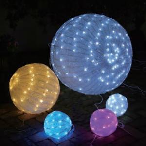 イルミネーション ディスプレイ 飾り 照明 ライティング クリスマス LEDクリスタルボールライト 20cm 電球色 白 CR-87|doanosoto