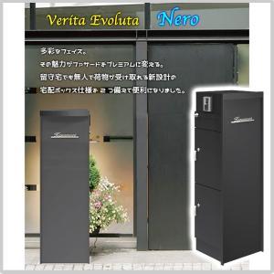 ポスト 宅配BOX 表札 インターホン 一体型 ネロ モダン 表札灯 不在 オシャレ 玄関 マット ブラック 大型 BOX2か所 OOE19-96(NA1-VBNBM)|doanosoto