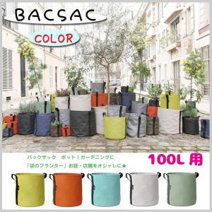 BACSAC バックサック カラー ポット ガーデニング 袋 プランター 全5色 オシャレ 庭 店舗 施設 100L 植木 花 カフェ ディスプレイ OOG13-309(SR3-BSP 100)|doanosoto