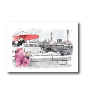 にいがた百景/ポストカード 雪降る萬代橋を望む古町芸妓|doc-furusatowari