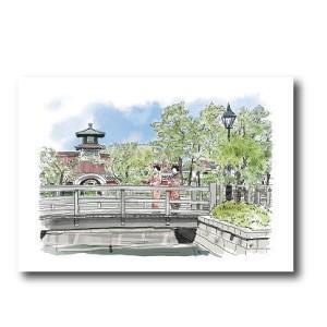 にいがた百景/ポストカード 堀と柳の風景に華を添える古町芸妓|doc-furusatowari