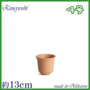 植木鉢 陶器 おしゃれ サイズ 13cm 安くて植物に良い鉢 尻丸えびね 素焼 4号|docchan