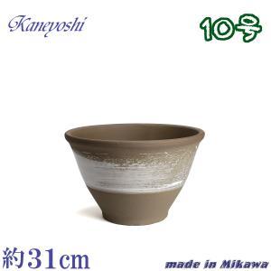 植木鉢 陶器 おしゃれ サイズ 31cm 安くて丈夫 アリア ホワイトブラッシュ 10号|docchan