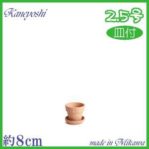 受皿付 素焼鉢 BSK 2.5号 & 素焼 受皿 2.5号|docchan