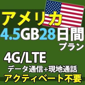 アメリカ 4G データ通信 プリペイド SIM 通話 データ通信  大容量 4.5GB 28日間 即日発送 あすつく|docodemo