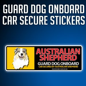 オーストラリアンシェパード:リアルフェースイラストステッカー dogandsurfdesign