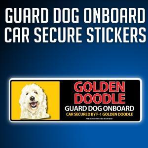 ゴールデンドゥードルType-A:リアルフェースイラストステッカー dogandsurfdesign