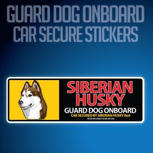 シベリアンハスキーレッド:リアルフェースイラストステッカー dogandsurfdesign
