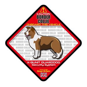 犬ステッカー:ボーダーコリーレッドONBOARDステッカー|dogandsurfdesign