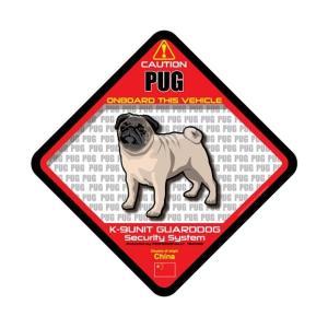 犬ステッカー:パグONBOARDステッカー|dogandsurfdesign