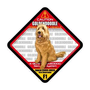 犬ステッカー:ゴールデンドゥードル レッド F1 ONBOARDステッカー|dogandsurfdesign