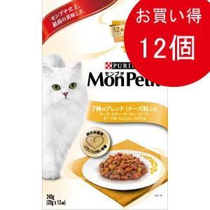 【数量限定】モンプチ ボックス 7種のブレンドチーズ粒入り チキン・ターキー・ビーフ・オーツ麦・にんじん・ミルク味 240g×12箱