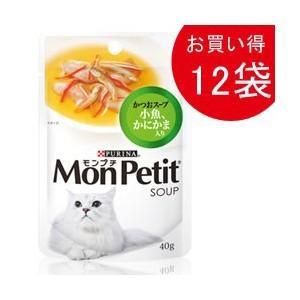 モンプチ パウチ スープメニュー かつおスープ 小魚、かにかま入り40g×12|dogparadise
