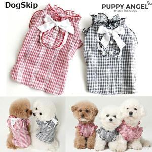 犬用 PAラブリーチェックブラウス S,SM,M,ML,L,XLサイズ パピーエンジェル 洋服 ドッグウェア 小型犬 犬 Puppy Angel(R)|dogskip
